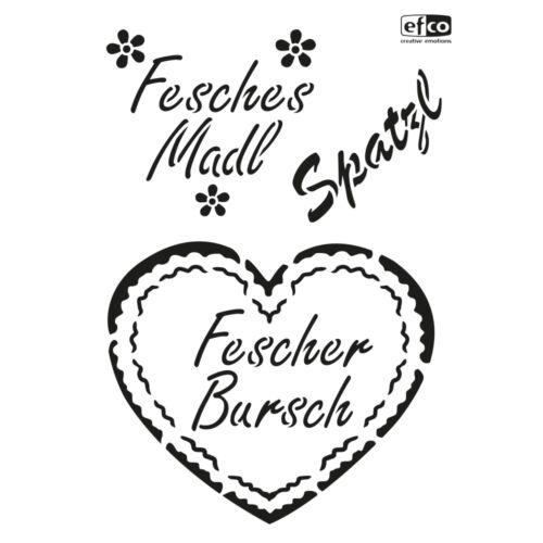 1 Schablone LANDLUST Bierzelt-Feste BAYERN Trachten DIN A4 Textil-Stencils EFCO