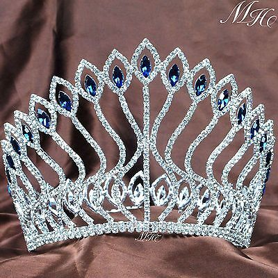 Fabulous Wedding Crowns Bridal Tiaras Blue Rhinestone Pageant Prom Party Costume