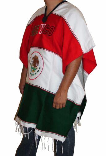 Warm Mexican Flag Mexican Poncho Gaban Heavy Blanket Cape Ruana One Size