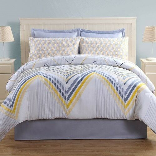 6 Pc Ellison Bed-in-a-Bag  Flynn  White bluee Yellow  Twin NEW