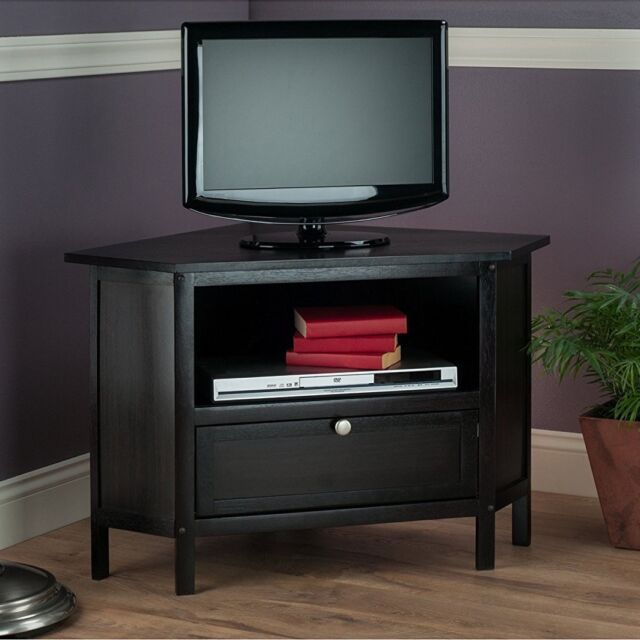 Winsome Wood Zena Collection Corner Tv Stand In Espresso Finish For Up To 27