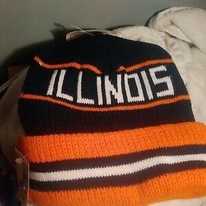 Vintage NCAA Illinois Fighting Illini Winter Knit Hat Cap Beanie NEW!