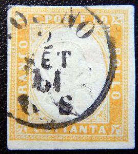 Sardinien-Italien-Italy-Kat-14-used-1862-sign-bug-Kat-300-Euro