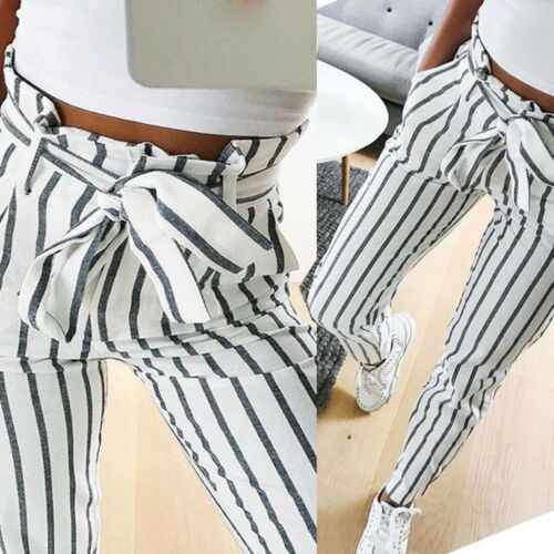 Skinny Women Striped Long Jeans Tie High Waist Ladies Ankle-Length Pants Trouser