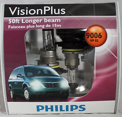 Genuine Philips Vision Plus 50ft Brighter 9006 HB4 VPS2 Halogen Bulbs NEW Lamp