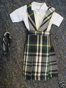 NIP 3 pc SCHOOL UNIFORM V Jumper Dress Outfit Clothes fits Barbie doll PLAID #78