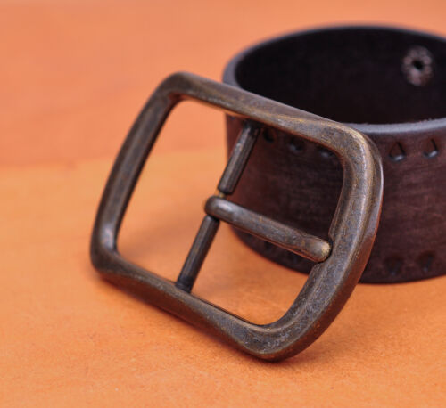 Heavy Duty Solid Antique Copper Two-Tone Center Bar Pin Belt Buckle Inner 40mm