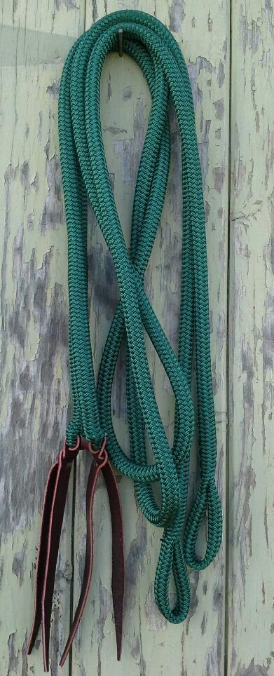 Split Reins with Loop Ends - Green-  Team Penning, Campdrafting, Western Riding  credit guarantee