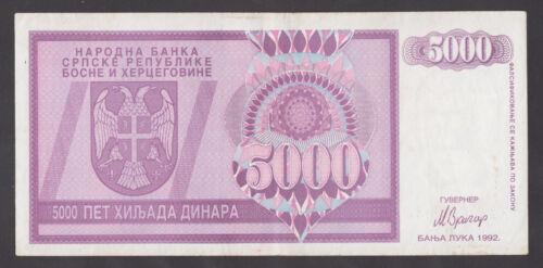 BOSNIA Rep.Srpska  5000 Dinara 1992  VF  P138   REPLACEMENT with ser prefix ZA