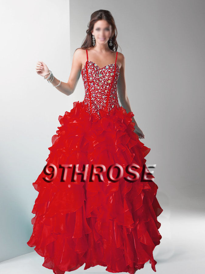 DAZZLE JUDGES  RED RED RED BEADED EVENING FORMAL PROM BRIDESMAID BALL GOWN; AU 14 US 12 7ab73c
