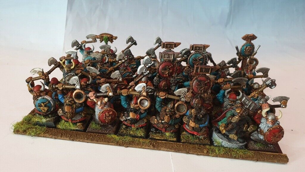 40 PAINTED PAINTED WARRIORS + CANNON DWARF THANE PAINTED WARHAMMER