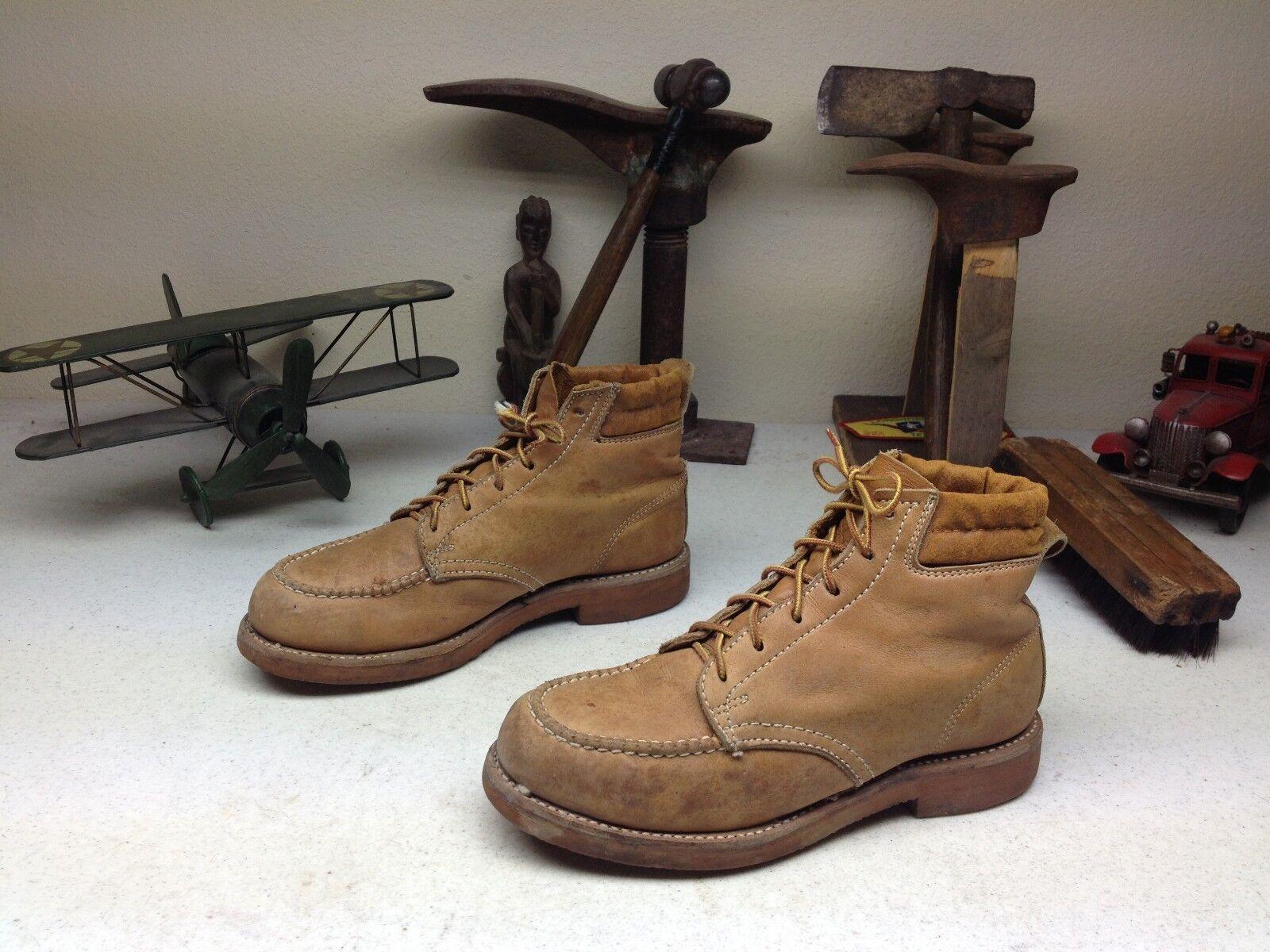 Angustiado marrón Vintage Hy-test Usa Cuero Puntera De Acero Ingeniero botas de trabajo 6-7 D