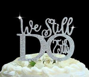 25th Wedding Anniversary Cake Topper In Rhinestones 169 We