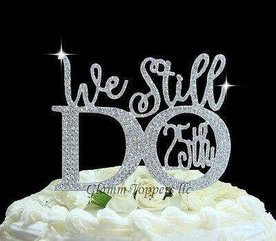 25th Wedding Anniversary Cake Topper in Rhinestones ©We ...