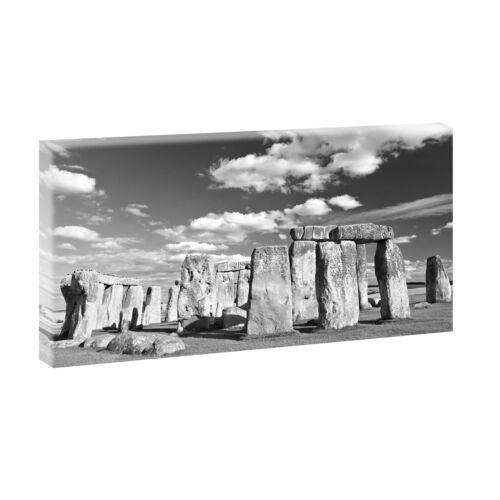 Stonehenge sw Bilder Leinwand  Poster Keilrahmen Deko XXL  80 cm*40 cm 327