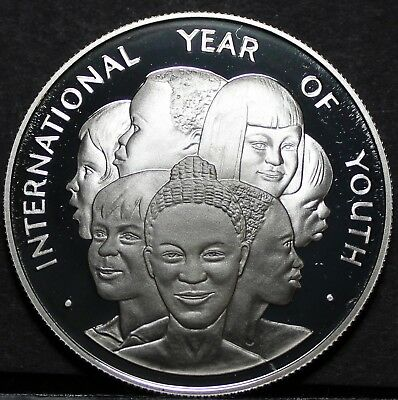 1985 Year Of Youth~rare Silver Proof~1,000 Minted~free Ship Jamaica 10 Dollars