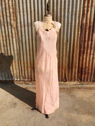 Antique 1930s Pink Silky Rayon Dress Bias Cut Low