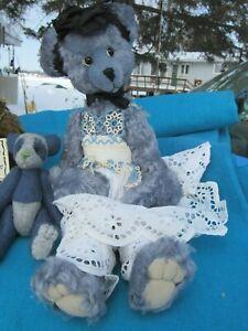 "VINTAGE BLUE MOHAIR TEDDY BEAR GIRL LACE DRESS ARTIST  ADVANTAGE 16"" BENTARMS"