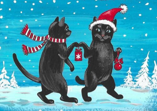 ACEO PRINT OF PAINTING RYTA XMAS BLACK CATS GIVING WINTER LANDSCAPE ART CARD CAT