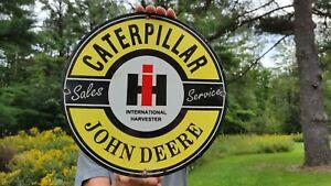OLD VINTAGE CATERPILLAR JOHN DEERE SALELS TRACTOR HEAVY METAL PORCELAIN SIGN