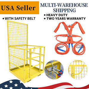Universal-Forklift-Safety-Cage-Telehandlers-Lift-Work-Platform-W-Safety-Harness