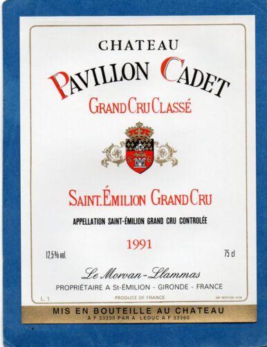 ST EMILION GCC ETIQUETTE CHATEAU PAVILLON CADET 1991        §24//02//17§