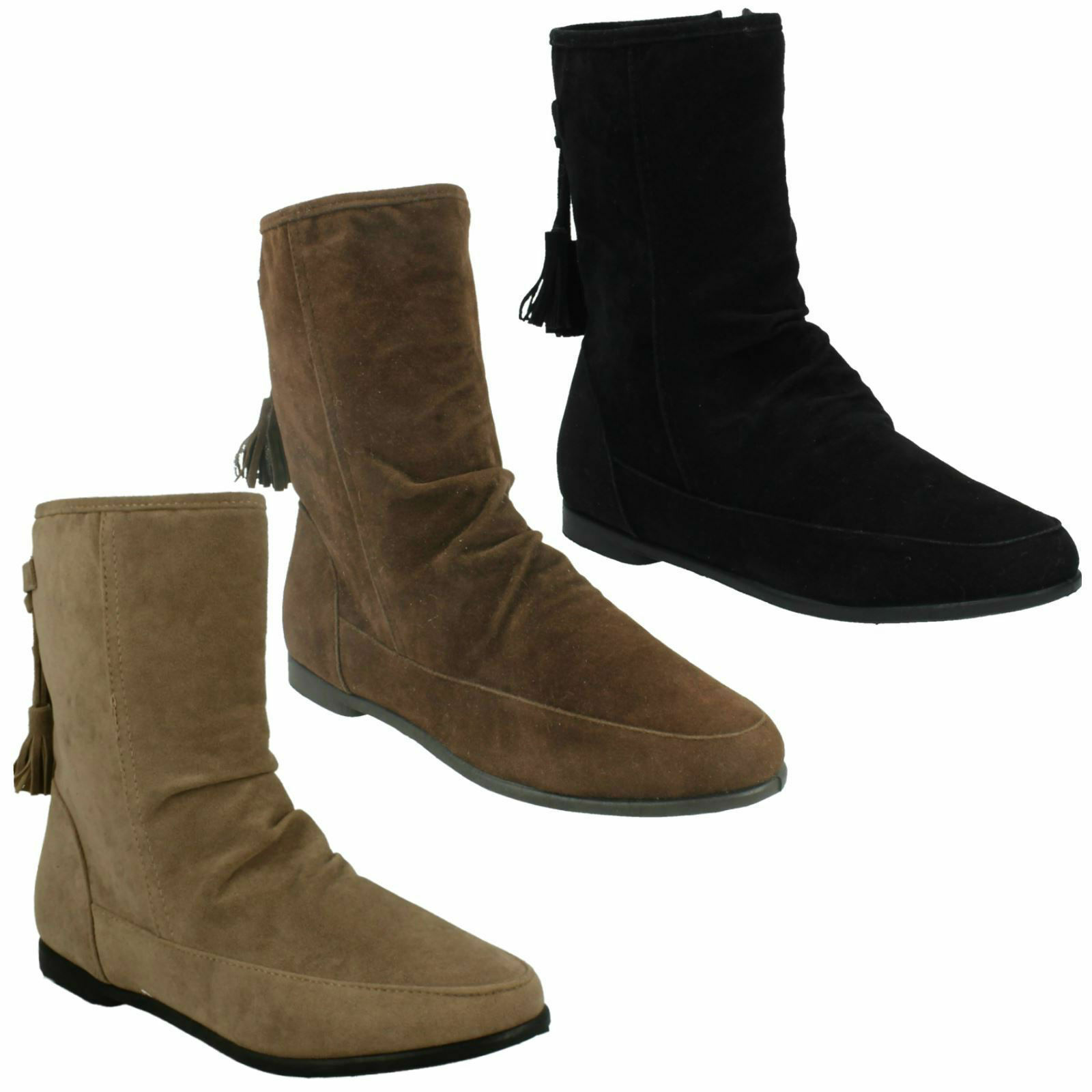LADIES WOMENS SUEDE TASSEL TRIM FLAT ZIP ANKLE BOOTS SHOES SIZE SPOT ON F4359