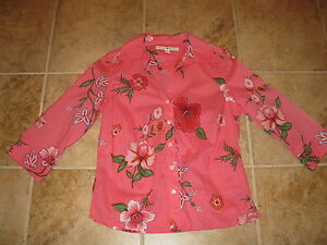 WOMENS-SIZE-8-PINK-FLORAL-SHIRT-BY-TOMMY-HILFIGER-3-4-SLEEVES