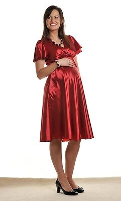 Brand New Glamorous Satin Effect Ruby Red Maternity Evening Dress Size 8-16