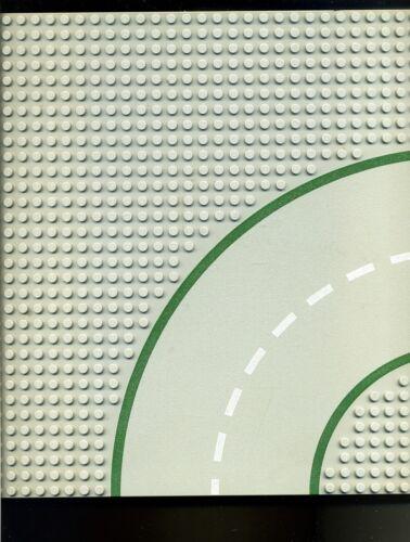 Verkehr- Kurve Straßenplatte Lego--Grundplatte 32 x 32 Noppen --Grau//Grün