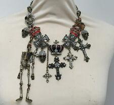 Butler and Wilson Antique Finish Skeleton Skull Cross Medal Crown Necklace NEW