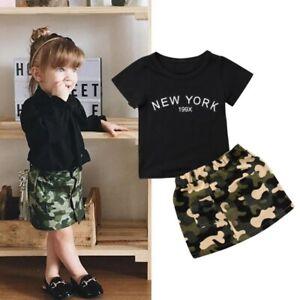 2Pcs Toddler Baby Girls Short Sleeve T-Shirt Tops+Camo Skirt Dress Outfits Set