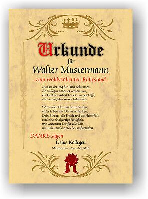 Ruhestand Urkunde Geschenk zur Rente Abschied Berufsleben ...