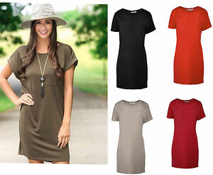 Women-039-s-Shirts-Ladies-Oversized-Classic-Elegance-Shift-Dress-Tunic-Top-Plus-Size
