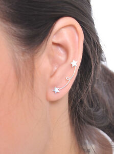 Image Is Loading Sterling Silver Star Ear Crawler Earrings Crawlers