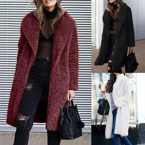 uk womens winter teddy bear warm coat cardigan ladies long. Black Bedroom Furniture Sets. Home Design Ideas
