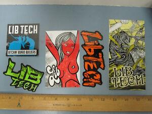 LIB-TECH-snowboard-skateboard-surf-ski-2014-5-Pack-Logo-Stickers-New-Old-Stock