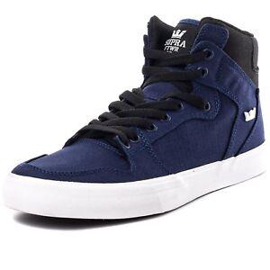 Image is loading Supra-Unisex-Vaider-Navy-Black-White-Sneaker-Men- ad99385ed