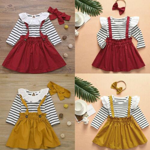 Toddler Infant Baby Girl Princess Lace Stripe Romper Suspender Skirt Outfits Set