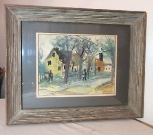antique-original-Opmon-abstract-figural-country-landscape-watercolor-painting