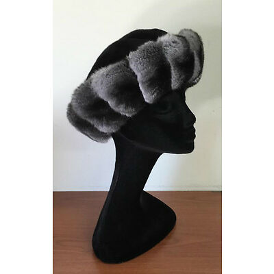 NEW CHINCHILLA FUR HAT MINK FUR TOP FULL FUR  ALL SIZES