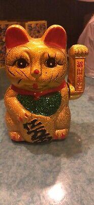 "6/"" Japanese Ceramic Golden Lucky Cat Statue"