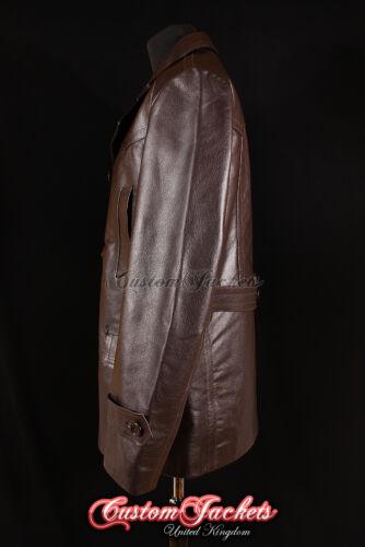 Men/'s KRIEGSMARINE BROWN German U-Boat Submarine Hide Leather Jacket Pea Coat