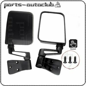 New Manual Passenger Driver Side Door Mirrors Pair for Jeep Wrangler 1987-2002
