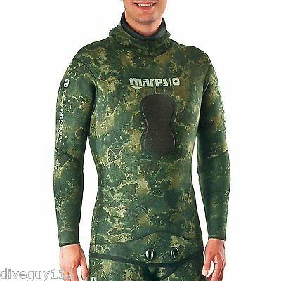 Mares Pure Instinct Camo Green 7mm Jacket for Freediving Scuba Diving Wetsuit