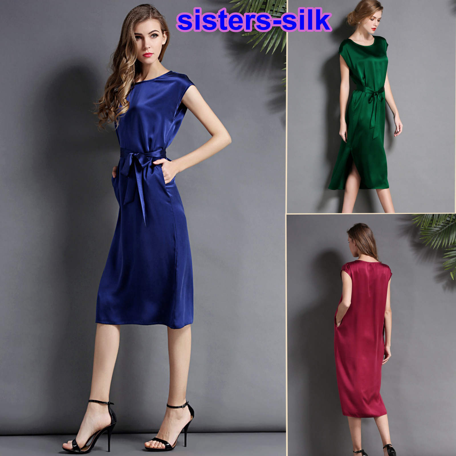 Womens Girls 19 Momme 100% Pure Silk Evening Dress Party Club Wear Size 6-24
