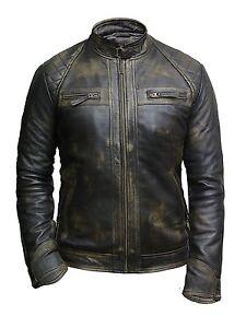 Brandslock Mens Genuine Leather Biker Jacket Bomber Vintage Ebay