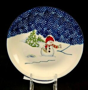 THOMSON-POTTERY-Snowman-China-Dinner-Plate-Excellent-condition