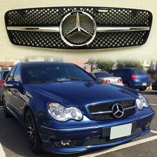 01-07 M-Benz W203 C Class C230 C320 C32AMG 4 Fins Hood Gloss Black Front Grille
