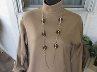 White House Black Market 20 Gold Tone Chain Faux Tortes Shell Discs $54.00